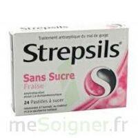 STREPSILS FRAISE SANS SUCRE, pastille édulcorée à l'isomalt, au maltitol et à la saccharine sodique à MULHOUSE