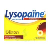LYSOPAÏNE AMBROXOL 20 mg Pastilles maux de gorge sans sucre citron Plq/18 à MULHOUSE