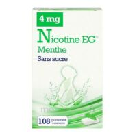 Nicotine EG 4 mg Gomme à mâcher médicamenteuse sans sucre menthe édulcorée à l'acésulfame potassique et saccharine Plq/108 à MULHOUSE