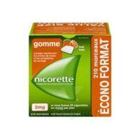 Nicorette 2 mg Gomme à mâcher médicamenteuse sans sucre fruits Plq/210 à MULHOUSE